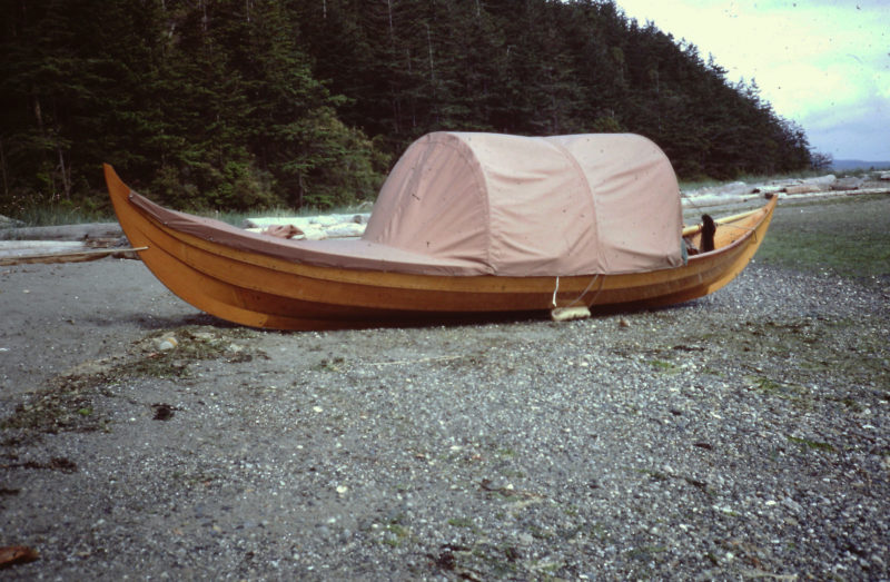 When we landed on Lopez Island for our first overnight stay, I was still finishing many of the projects that I'd started before we embarked. While ROWENA was supported with fenders tucked under her bilges I put the finishing touches on the canopy.