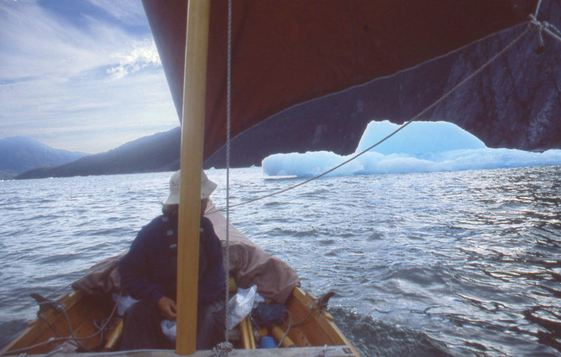 The cold air sliding down the slope of the glacier created a sailing breeze on our way out of Le Conte Bay.