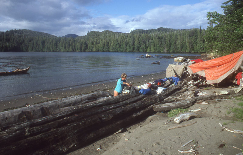 Our first landing in Alaska was on Tongass Island, the site of a U.S. Army fort in the late 1800s and a native village after that. The only remains of eh settlement we saw were fragments of brick scattered on the beach. A heavy rain had soaked our tent the previous night and we spread it out to dry.