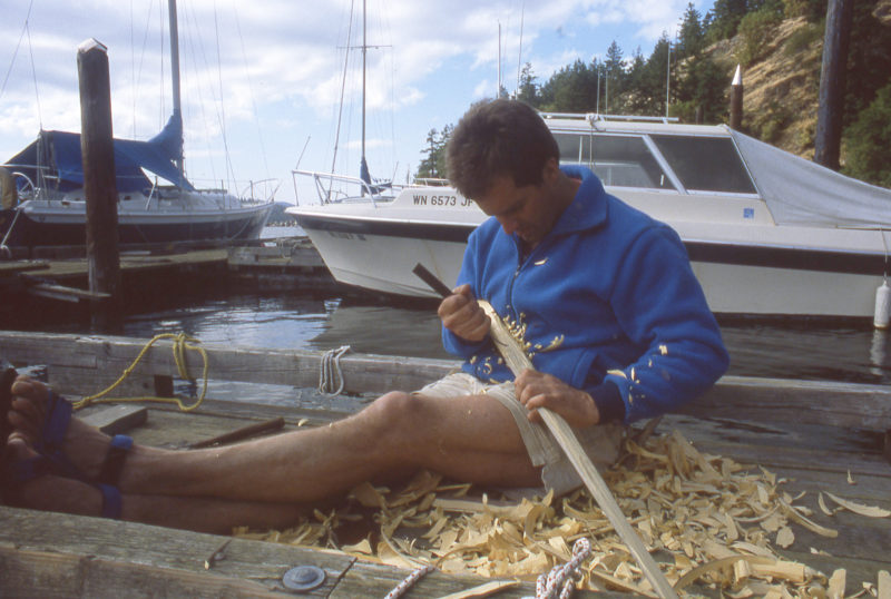 The original rudder was meant for sailing and created too much drag to use for holding course while rowing in a crosswind. I carved a slender rudder out of found yellow cedar and made a system for it that allowed me to adjust the rudder with steering lines and a small tiller on my foot brace.