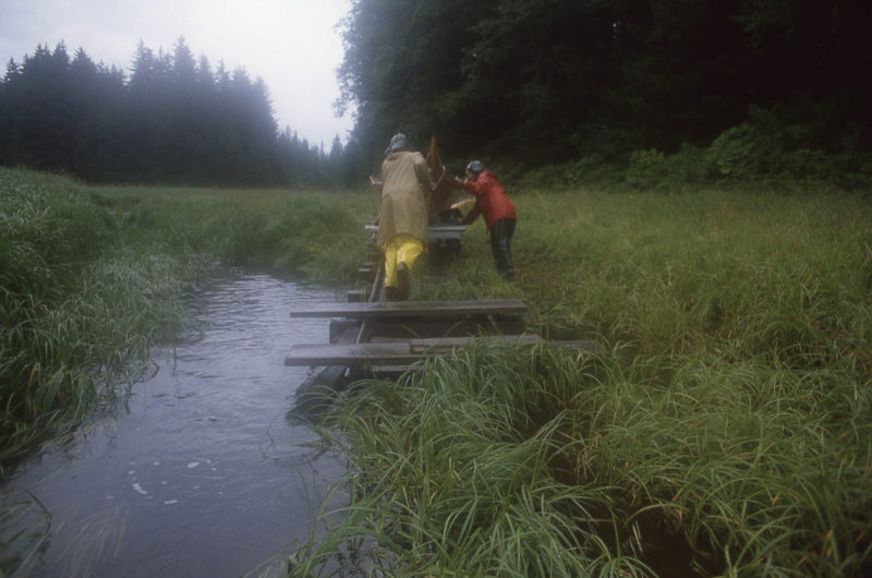 With the boat and gear loaded on the cart we could begin the 3/4-mile push to Oliver Inlet.