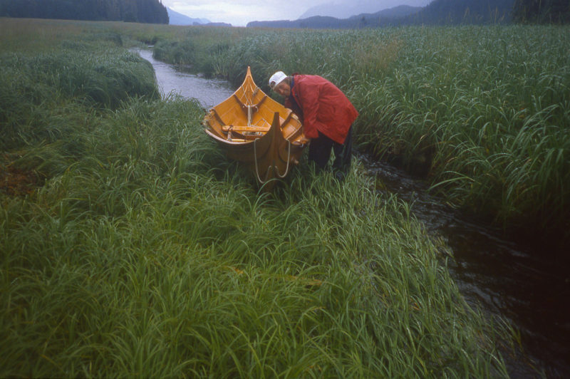The farther up the creek we got the shallower and narrower it became. Hauling the boat over the grass was often less work.