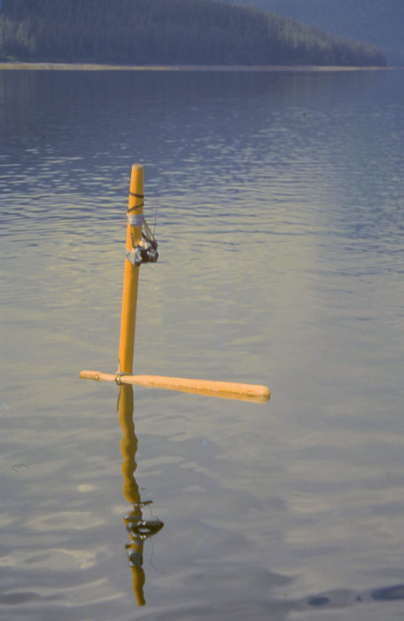 "My ""selfie stick"" for the photo above was ROWENA's mast with the anchor chain tied to the masthead to get it to float vertically and the rowing rudder lashed at the waterline to keep the camera pointed in one direction. The radio shutter release triggered my non-waterproof SLR camera."