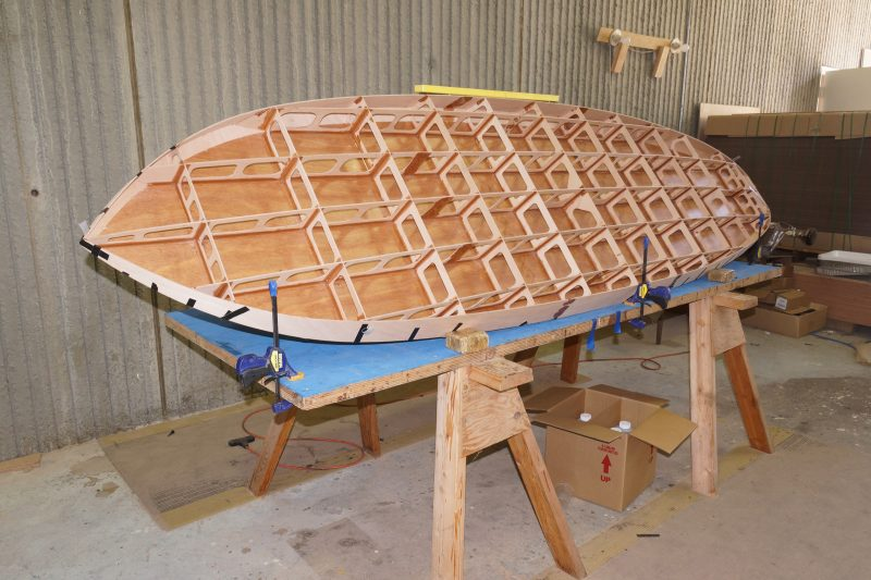 The interlocking framework gives the board stiffness without making it heavy.