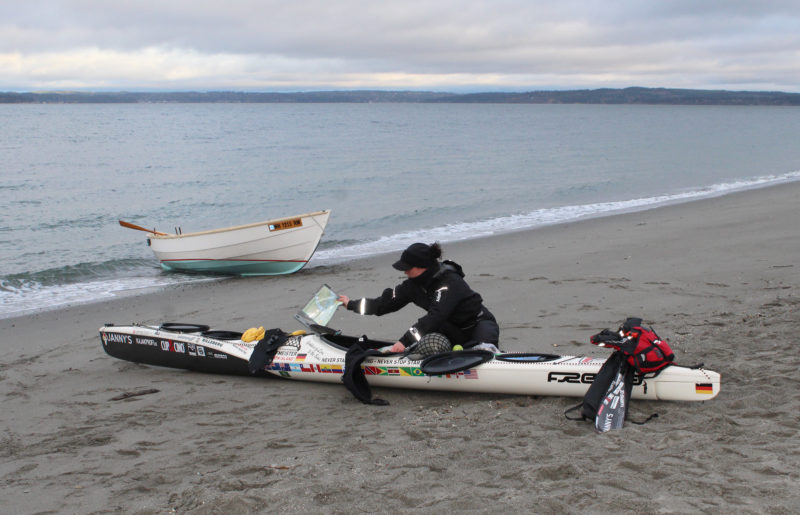 Prior to her departure, Freya packed her kayak at the Golden Gardens beach in Seattle. I brought my Caledonia yawl along, with outboard power, as a photo platform.