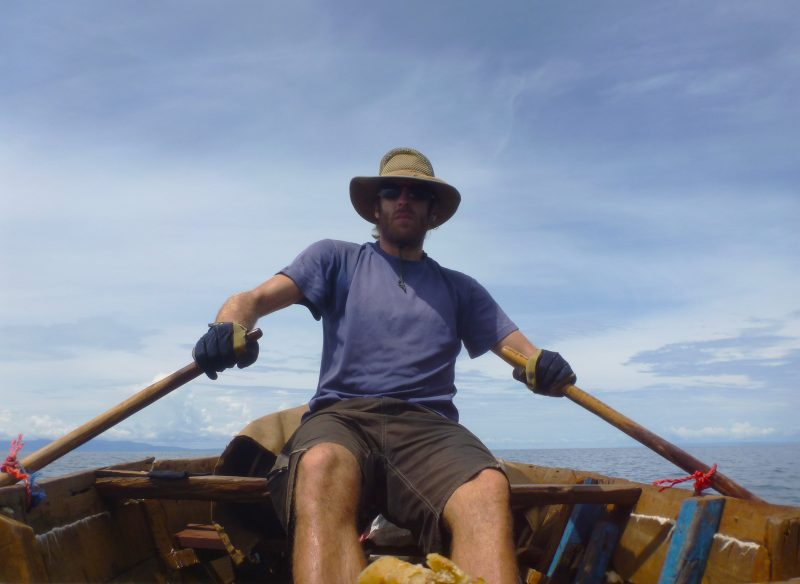 The sun-faded clothes that had already taken me halfway across Africa served well for rowing. The bicycling gloves I happened to have were a life saver for my hands. The improvised plastic rope oar locks needed to be replaced every day or two.