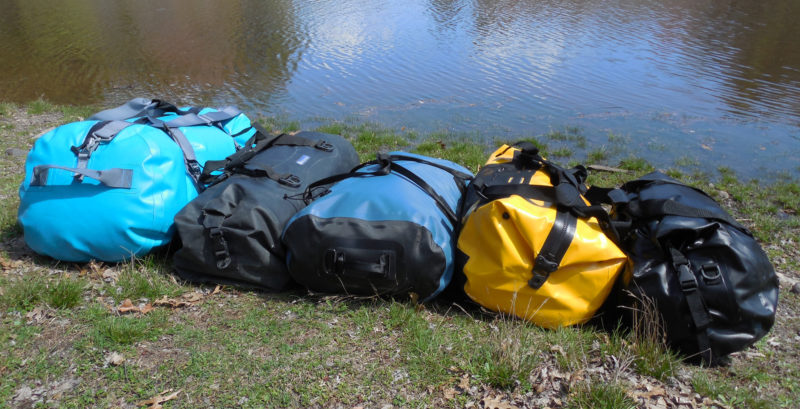 From left: The NRS Expedition DriDuffel, the Watershed Yukon, the SealLine Zip, the Ortlieb Duffle, and the Seattle Sports Nav Duffel.