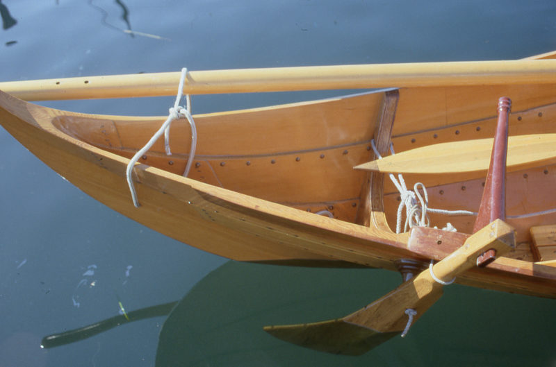 The side-hung rudder meant for the Gokstad faering creates a bit of drag that would turn the boat to starboard if not for the blade's asymmetrical cross section, which creates a bit of port-turning lift. The rudder was effective, but because we frequently switched between sailing and rowing, we rarely used it.