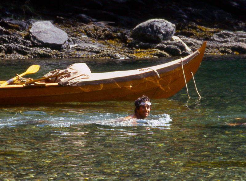 On an oppressively hot day of rowing around the east coast of Etolin Island, we ducked into a little cove for a refreshing swim and an opportunity to inspect the faering's bottom.