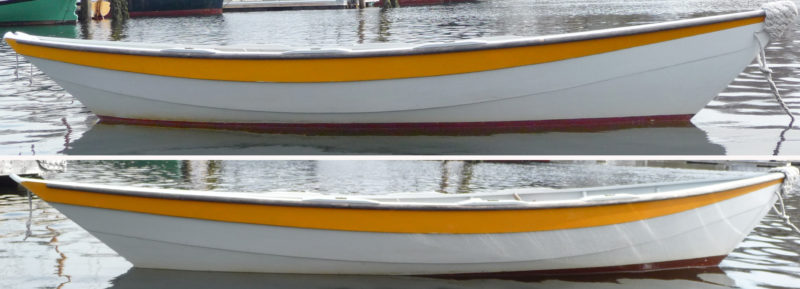 Without ballast, the dory TIPSY sits right on her lines, with her boot top parallel to the water's surface (top). With ballast in the stern, the bow rises, exposing more bottom paint, and the stern sinks, submerging the boot top (bottom). The change in trim will improve the dory's tracking and downwind performance.