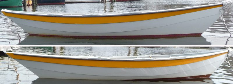 Without ballast, the dory TIPSY sits right on her lines (top). With ballast in the stern the bow rises and the stern sinks (bottom). The change in trim will improve the dory's tracking and downwind performance.