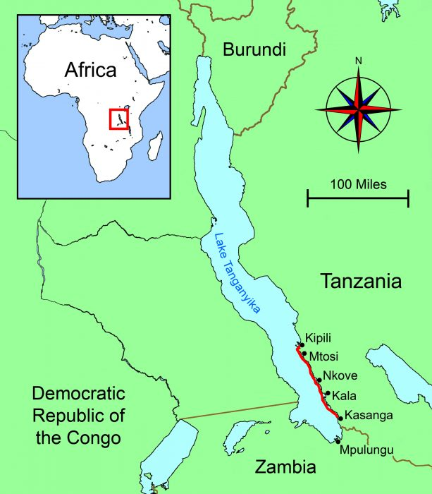 Lake Tanganyika On A Map Of Africa.Lake Tanganyika Small Boats Monthly