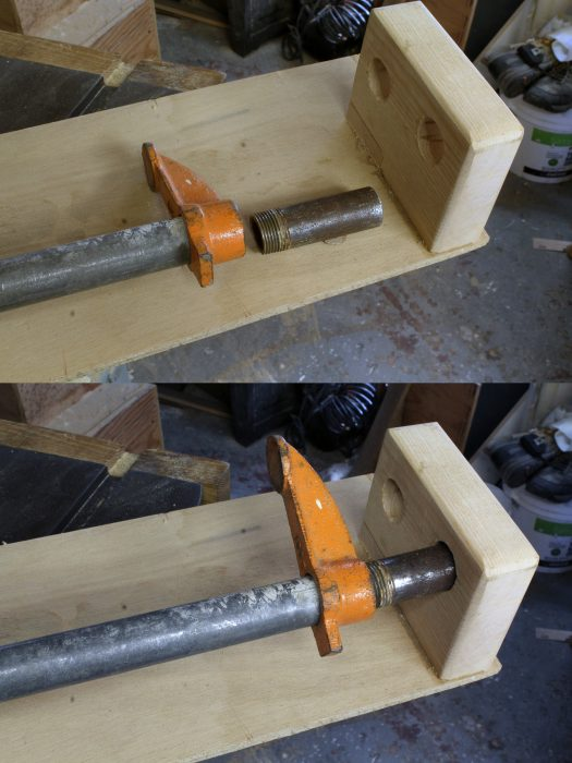 A short length of pipe is added to the tail end of the clamp. Loosening the foot of clamp makes some of its threads available for the extension.