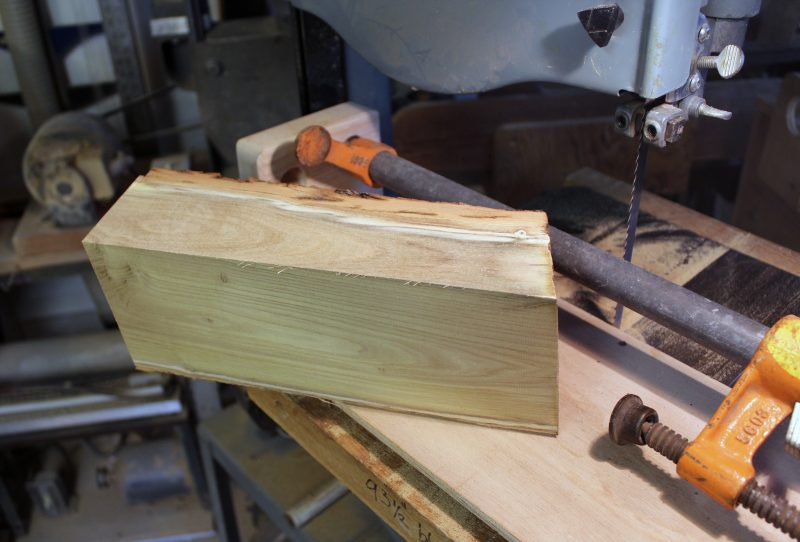 Having made two cuts with the sled I can continue working on the bandsaw or move to the tablesaw.