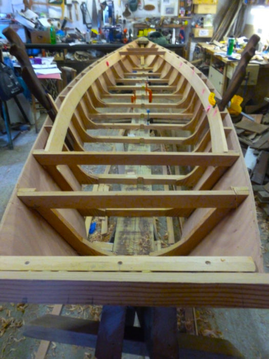 Nissen's s'ciopon has traditional framing, making it quite stout, but the plywood sides and bottom reduce the boat's weight.