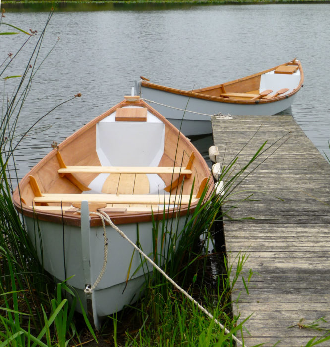 Michael built two boats to his design, IRONBLOOD (at the end of the dock) for himself, and a then unnamed faering for his son. The plan was for the two to sail and row the Inside Passage, but family obligations took precedent. After sea trials the second faering was sold.