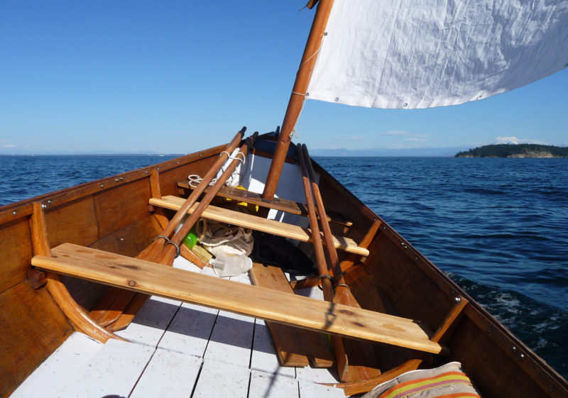 Waters along the northern perimeter of he San Juan archipelago can get quite choppy—winds from the north and northwest have 15 nautical miles of fetch. The higher ends and freeboard keep the going drier. Here IRONWOOD is bound for Matia island.