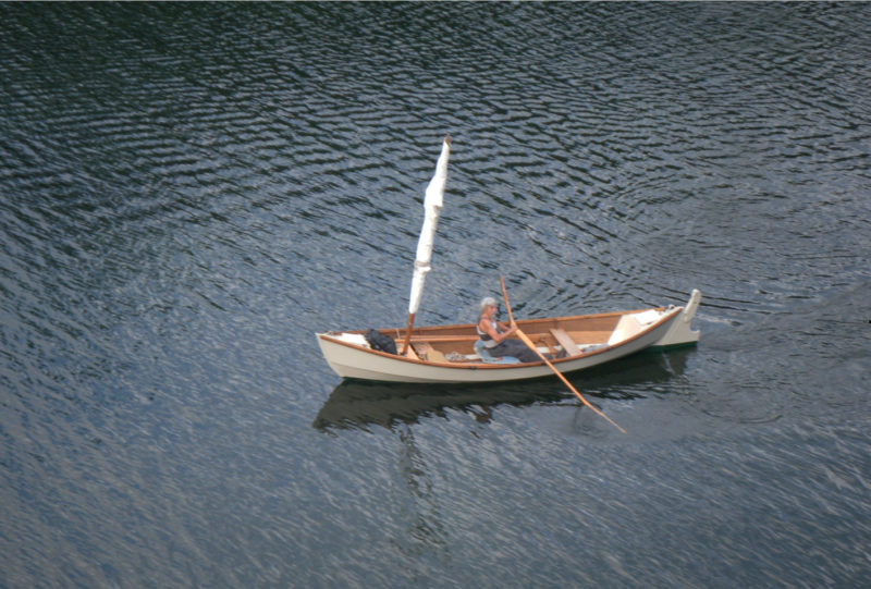 Seen here in the protected waters of Matia Island, IRONBLOOD slips along easily under oar power.