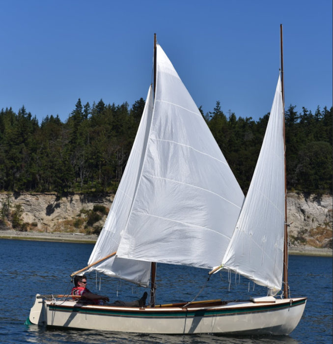 "The cat-ketch rig of this Core Sound 17, with its tall mizzen mast, allows flying a large (85 sq ft) mizzen staysail. The cat-ketch rig of this Core Sound 17, with its tall mizzen mast, allows flying a large (85 sq ft) mizzen staysail. Drawings for this mizzen staysail call for a nearly straight 17' luff, 6"" of round in the 12' 8"" foot just forward of center, and 6"" of hollow in the 13' 7"" leech just above center. The owner occasionally finds it handy to fly the mizzen staysail with the main and mizzen reefed."