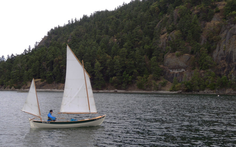 ROW BIRD handled the changeable spring conditions well, including calms, lumpy seas, and strong winds. The mizzen sail is a useful safety feature for heaving-to.