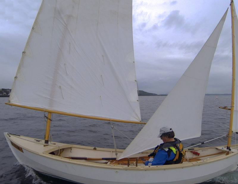 The editor's mizzen staysail for his Caledonia Yawl was cut from a jib he had salvage. Angling the foot up to raise the clew was the only modification required.
