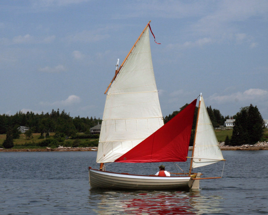 The author's red mizzen staysail was designed and made for WAXWING, his François Vivier-designed, lug-yawl rigged Ilur.