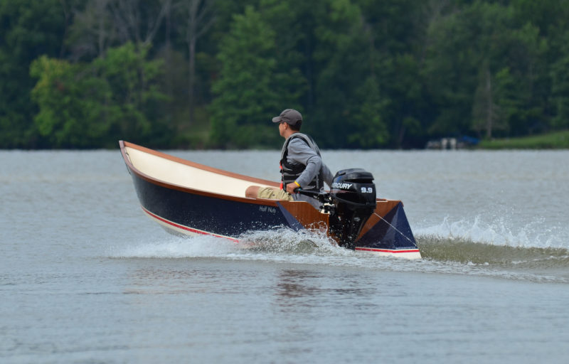 With just its skipper aboard, this Tango, with 9.9 hp outboard, more powerful than the 6-hp motor recommended by the designer, can reach a speed of 24 mph.