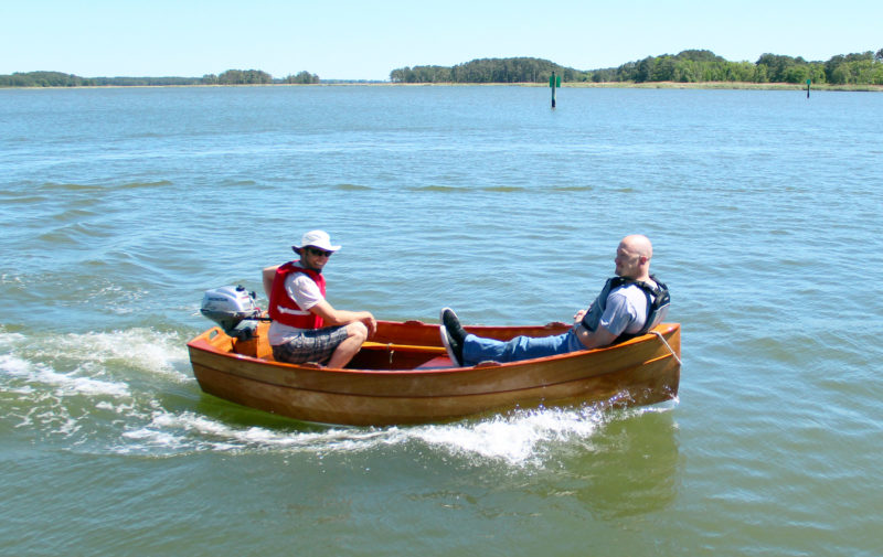 The Tenderly is rated to take outboards up to 2 1/2 hp.