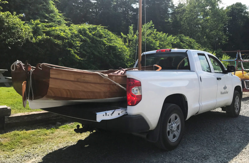 The Tenderly will fit in the bed a full-size pickup truck. State laws may limit the how far a load can project beyond the truck (4' is common) and may require flagging.