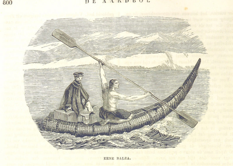 Reed boat, a paddler with a double paddle and a passenger in European clothes with luggage.