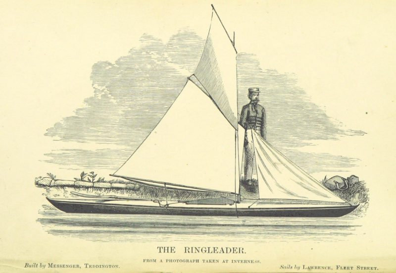 Sailing canoe and uniformed man at the edge of the water.