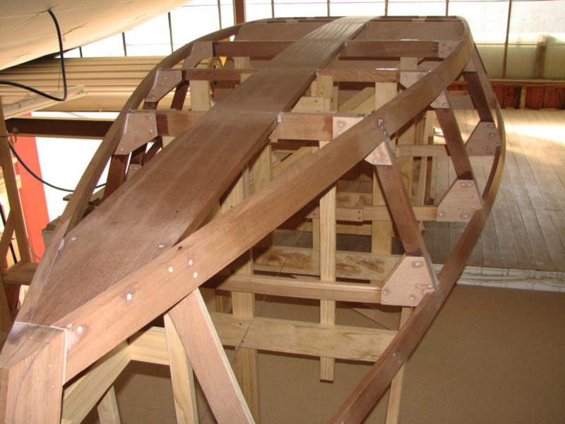 OYSTER, the first Milford 20, had sapele chine logs,sheer clamps, frames floors, and keelson. Any durable straight-grained wood may be used.