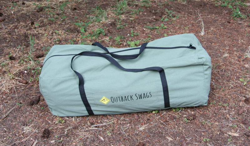 The duffel has some extra room beyond what the tent and mattress require, so the swag tent can be rolled up along a sleeping bag and pillow inside and still fit. While the duffel is bulky, it takes up as much space as the four or five separate bags the gear might ordinarily occupy.