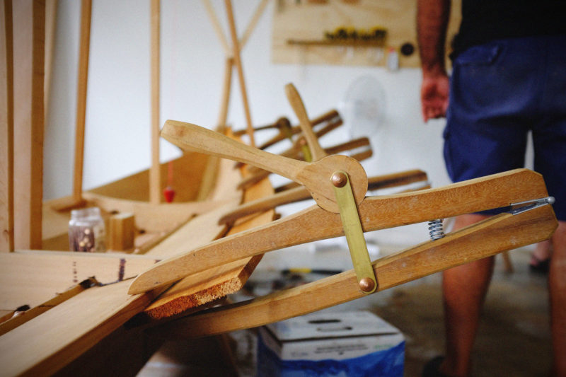 TheBrenne klammen is a planking clamp named for Harald Brenne, a Norwegian boatbuilding instructor. It has a long reach to hold laps on wide planks and can be operated with one hand.