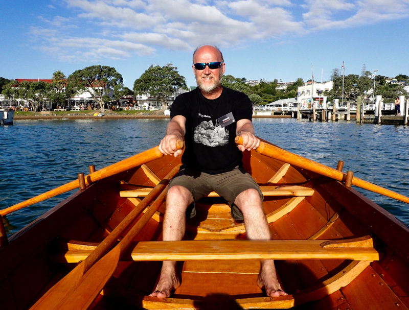 Ulf takes to the oars in Kororareka Bay off Russell.