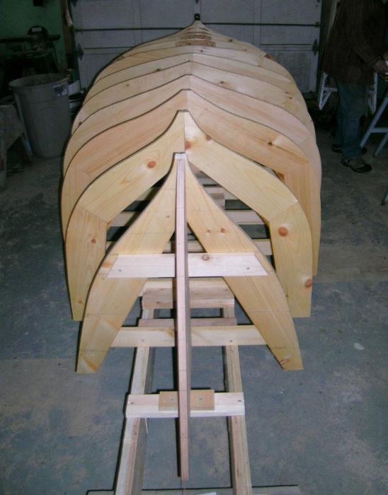 Work began with 13 molds and two plywood forms for the stems.