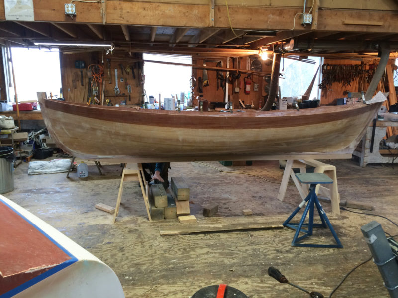 Work resumed on the hull after moving the project to Eric Dow's shop in Brooklin, Maine.