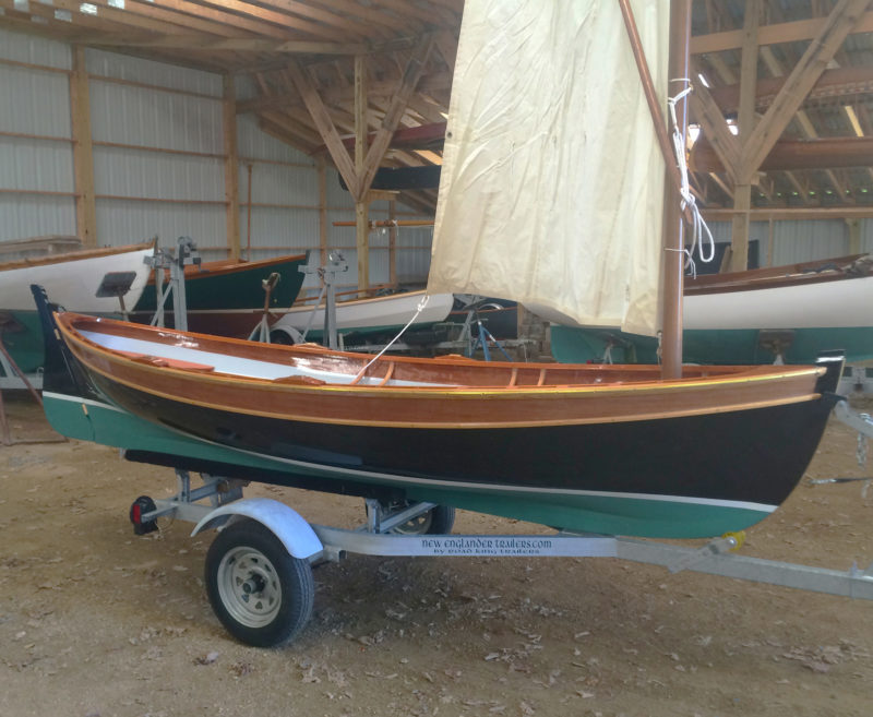 Trailered up in Eric Dow's boat barn, HARMONY is ready for the water.