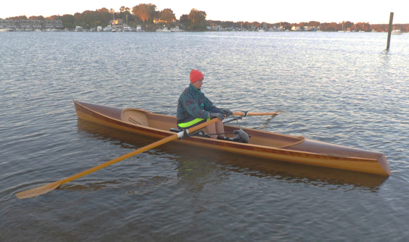 "Equipped with proper sculls, the rower have about a 6"" overlap of the grips."