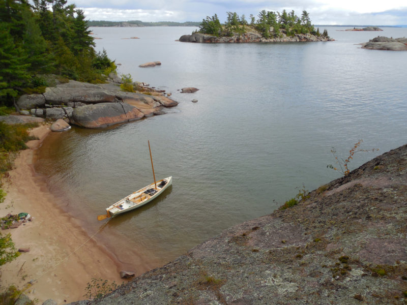 After several hours of sailing to reach the Benjamin Islands, I was ready to leave the boat for a while. A tricky scramble through thick brush and up a steep granite slab led me to this overlook at the southern tip of South Benjamin Island.