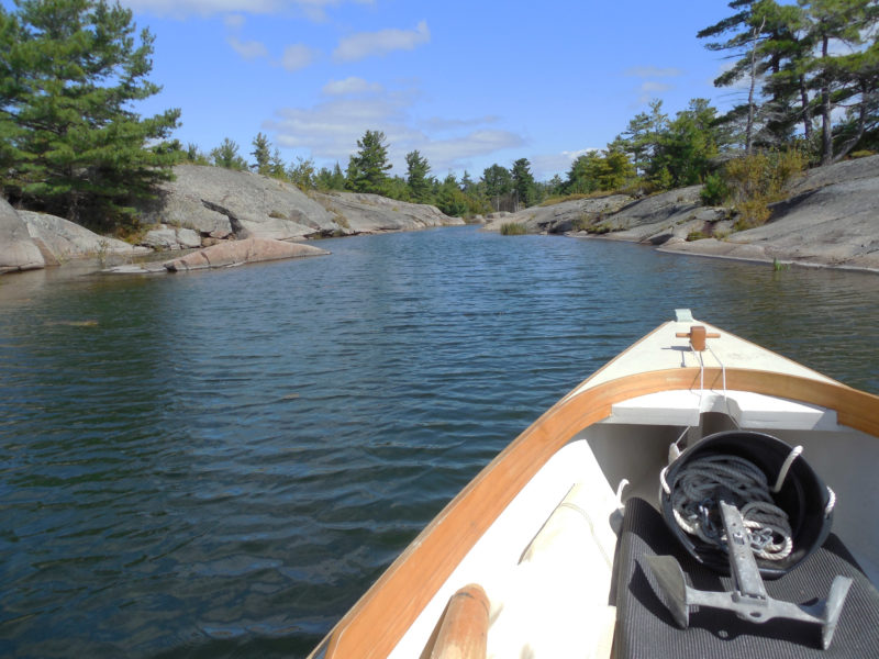 With the wind out of the northwest at 20 knots or more, I was happy to spend a day exploring the rocky interior of Fox Island under oars. The narrow channels and sweeping granite slabs provide a good preview of Georgian Bay and the Thirty Thousand Islands.