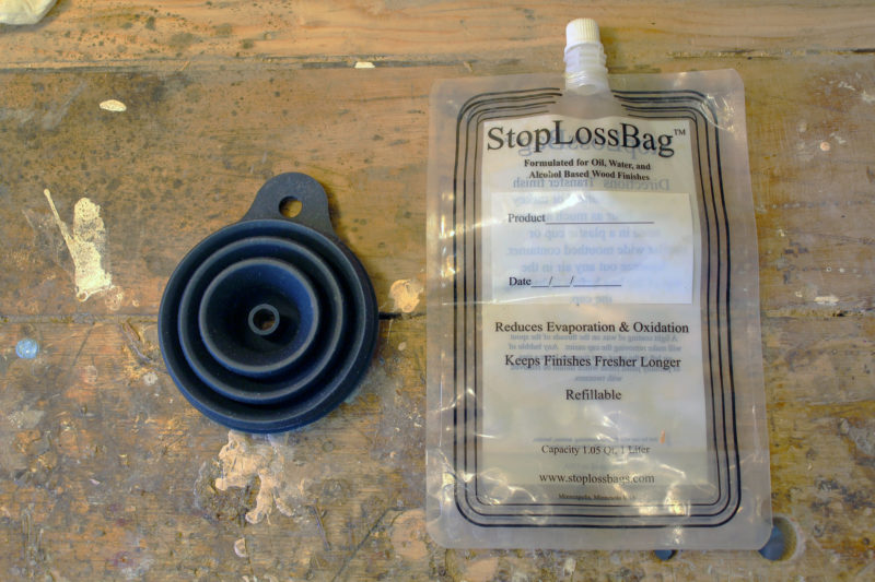 The StopLossBag system offers a way store paints and varnishes without the exposure to air that causes the contents of a partially used can to skin over.