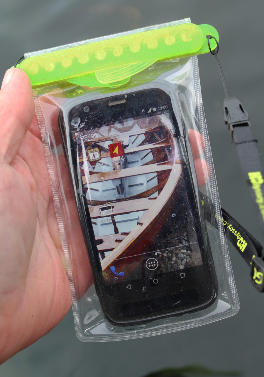 The Minnow, shown here, is the smallest in the GoBag line and a snug fit for a MotoG smartphone.