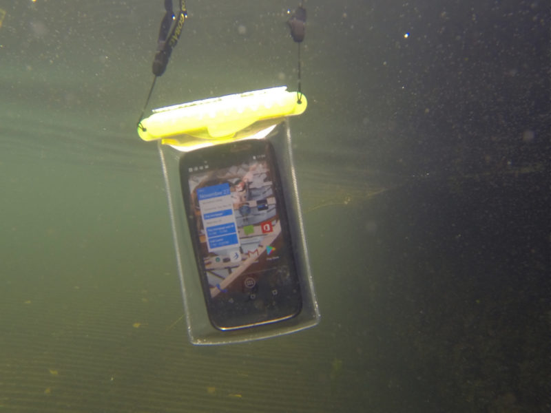 In immersion tests on a freshwater lake, the GoBag Minnow shown here endured a half dozen trips to the bottom, around 45' deep, without any leaks. Tissue paper was used in the bag for the test to safely indicate any intrusion of water.
