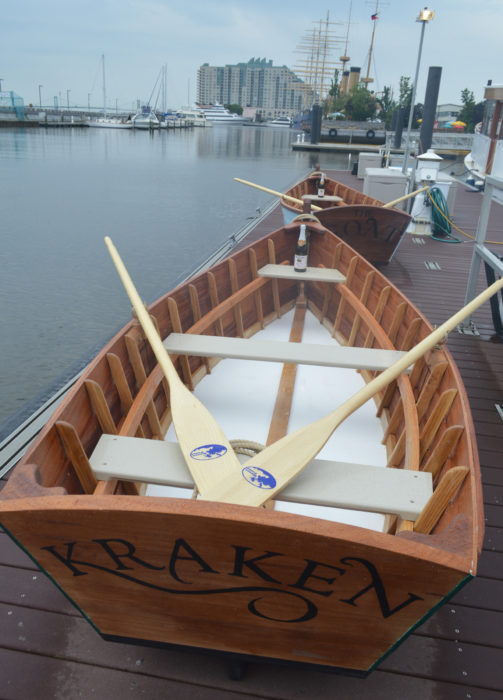 After launching, FRAKEN and THE G.O.A.T. joind other small boats in teh Museum''s livery.