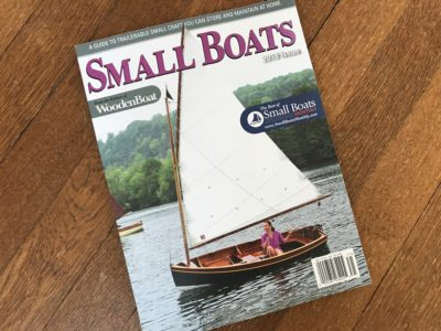 Coot Dinghy under sail on the cover of 2018 Small Boats Annual.