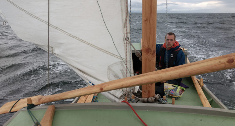 Koen was a picture of concentration as we raced wing on wing with a reefed main along Malaspina Strait. We initially used an oar as a whisker pole to hold the jib out for downwind runs, but later found a piece of driftwood to do the job.