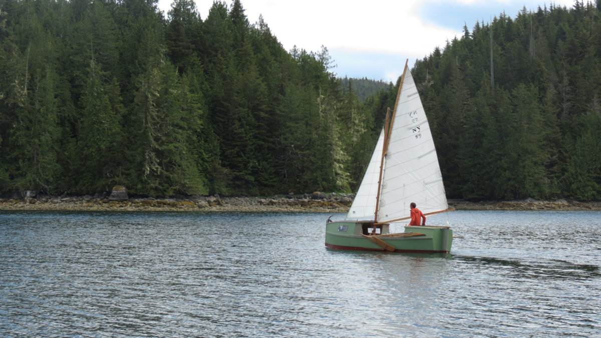 We had to wait for the tide to rise for us to cross a shallow spot in Cramer Passage at Broughton Island, so Koen passed the time doing some solo sailing.