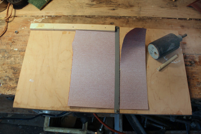 "I can quickly tear strips of sandpaper using a jig that has a fence and a hacksaw blade loosely screwed to a piece of plywood.This side work for the 3"" x 7-3/4"" strips I need for the 2"" drum."