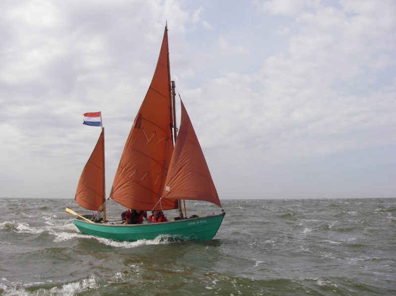 CASTOR & POLLUX was built in 1982. With main, mizzen, and jib set, Luggers carry 132 sq ft of sail.